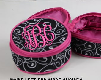 Monogrammed Travel Jewelry Case, Personalized Jewelry Pouch, Black Whirl
