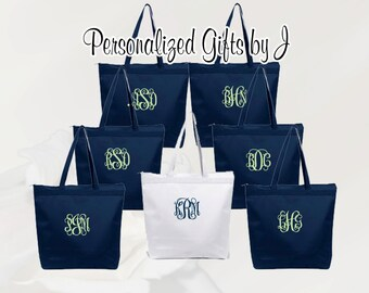 Bridesmaid Gift, Personalized Zippered Tote Bag Bridesmaids Gifts Set of 11 Monogrammed Tote, Bridesmaids Tote, Personalized Tote
