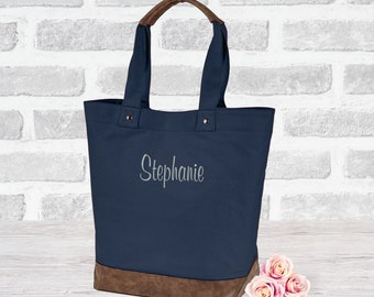 Custom leather canvas tote bag, Embroidered, Vegan leather, personalized Purse, Tote bag