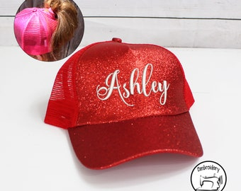 Personalized Red Glitter Messy Bun Hat, Monogrammed, Embroidered ,High Ponytail, Trucker Hat, High Pony Cap, Baseball cap Women Ball Cap