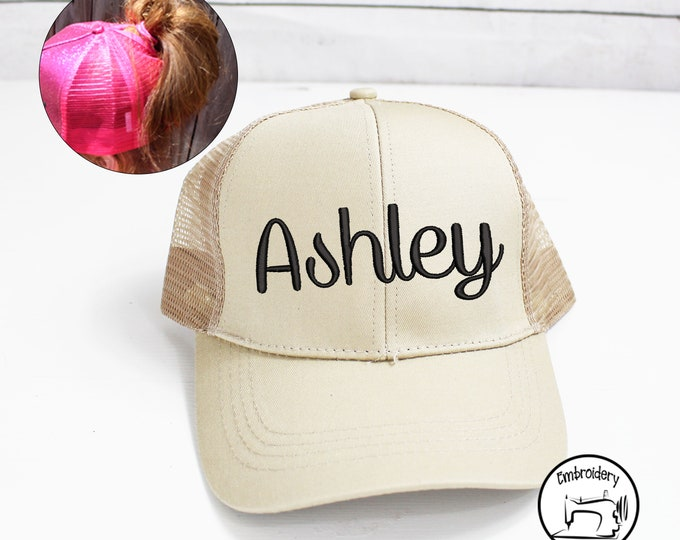 Custom Light Tan Messy Bun Hat, Monogrammed, Embroidered ,High Ponytail, Trucker Hat, High Pony Cap, Baseball cap Women Ball Cap