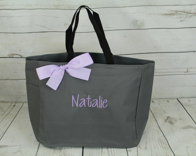 Set of 2 Personalized Bridesmaid Gift Tote Bags Monogrammed Tote, Bridesmaids Tote, Personalized Tote Wedding (ESS1)