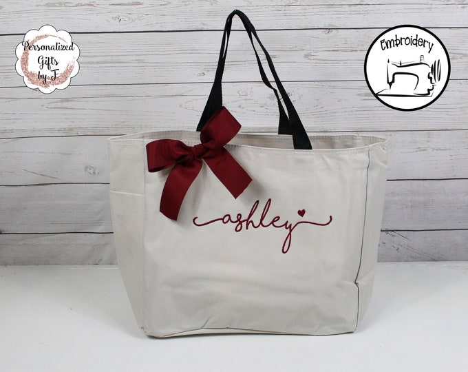Personalized Bridesmaid Tote Bags- Embroidered Tote - Maid of Honor Gift - Name Tote- Mother of the Bride/ Groom Bridesmaid Tote