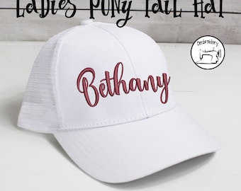 Custom White Ladies High Ponytail Hat, Monogrammed, Embroidered Hat, High Pony Cap, Baseball Hat Messy Bun Hat Ballcap Women Ball Cap