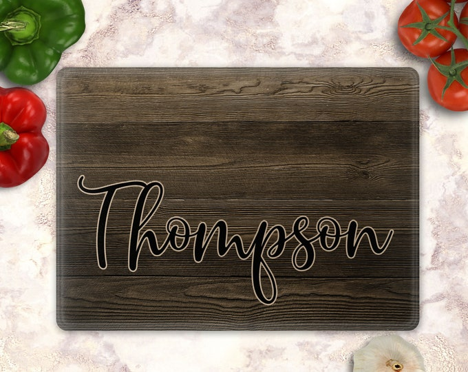 Custom Glass Cutting Board, Personalized Glass Cutting Board, Custom Kitchen Decor, Rustic- Design- GCB001-27