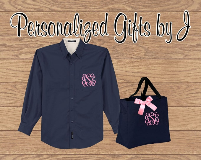 3 Sets, Personalized Bridesmaid Gift- Over Sized Shirt and Tote Bag Set- Bridesmaid Gift- Personalized Oxford Shirt and Monogrammed Bag Set