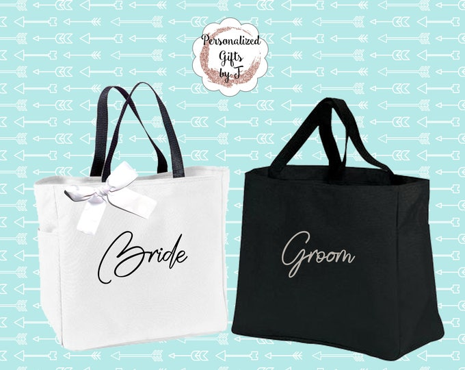 Set of 2, Bride and Groom Gift, Tote bags,  Wedding Totes, Day of Wedding Bag, Wedding, Honeymoon Goody Bag