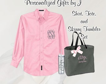 Personalized Bridesmaid Gift Set / Shirt, Tote, and Tumblers Set / Bridal Party Gifts