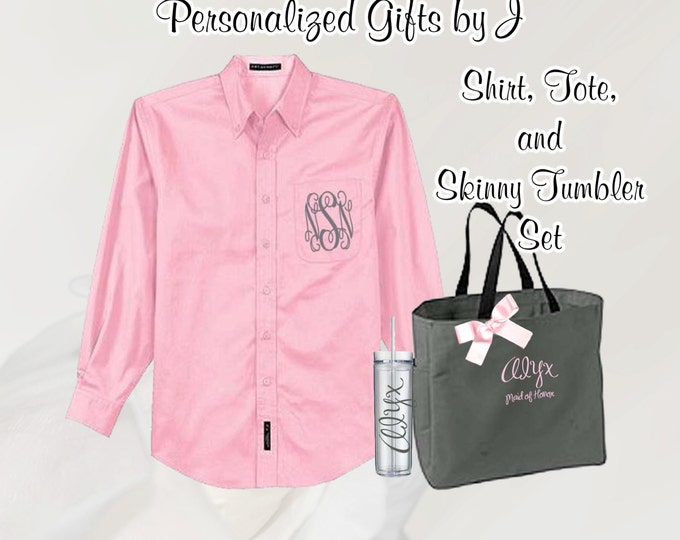 3 Personalized Bridesmaid Shirt, Tote, and Tumblers Set, Personalized Tumbler, Bridesmaid Gift Set, Bridal Party Gifts, Bridesmaids Totes