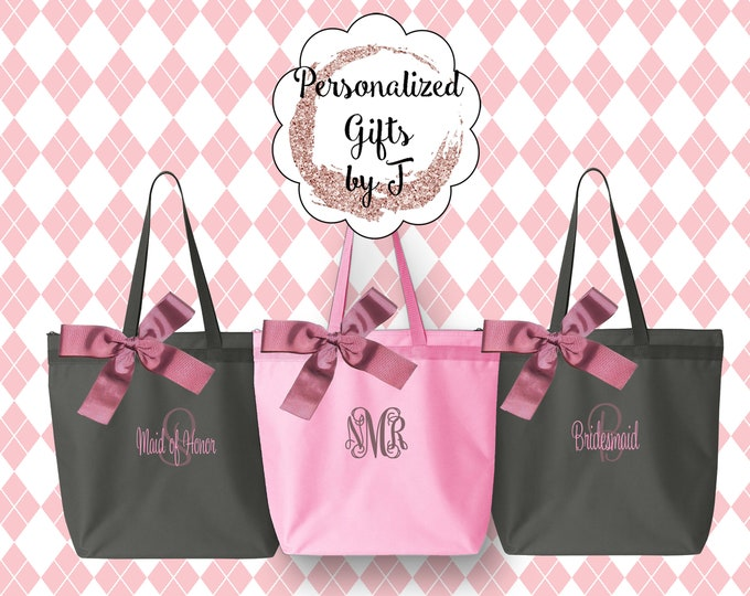 Custom Tote Bags, Personalized Zippered Tote Bag Bridesmaid Gift Set of 2- Wedding Party Gift- Bridal Party Gift- Initial Tote