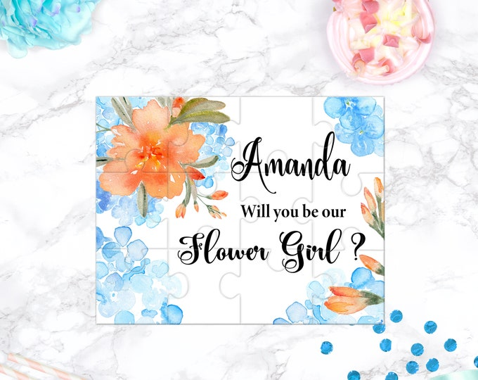 Blue and Coral Flower Girl Proposal Will You Be My Flower Girl Puzzle Cute Gift Keepsake Memento Personalized Girl Gift design 102