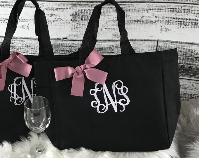 Personalized Bridesmaid Gift Tote Bags, Personalized Tote, Bridesmaids Gift, Monogrammed Tote (ESS1)