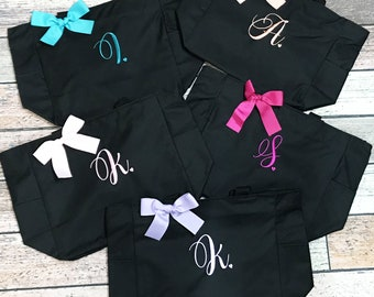 Monogrammed Bag, Zippered Personalized Tote, Initial Tote Bag, Bridesmaid Gift (MHZ1) Best Seller
