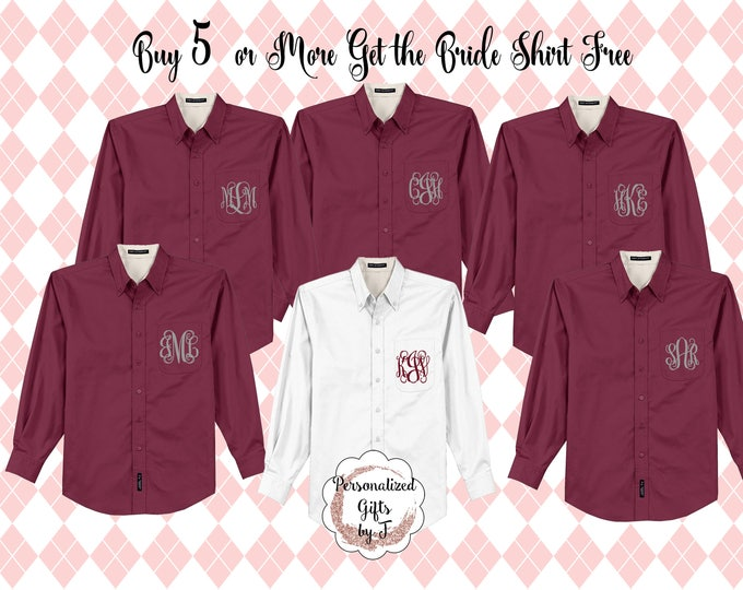 Monogrammed Getting Ready Shirts, Buy 5 or more get 1 free, Button Downs, Bridal Party Shirts  Personalized Shirt, Bridesmaids Gift