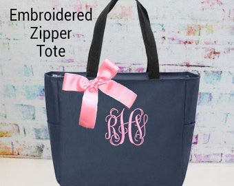 8 Monogrammed Bags, Zippered Tote Bag, Embroidered Bridesmaid Gift, Personalized Bridal Party Tote - Wedding Party Gift