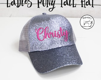 Silver Glitter Ponytail Cap, Womens Ball Cap, Monogrammed, Embroidered ,High Ponytail Hat, High Pony Cap, Baseball Hat Messy Bun Hat Ballcap