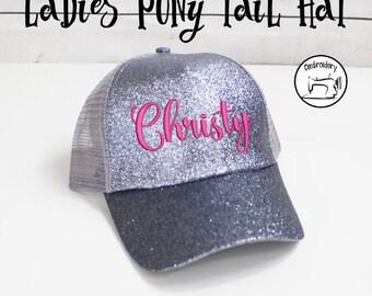 Silver Glitter Ponytail Cap, Womens Ball Cap, Monogrammed, Embroidered ,High Ponytail Hat, High Pony Cap, Baseball Hat Messy Bun Hat Ballcap