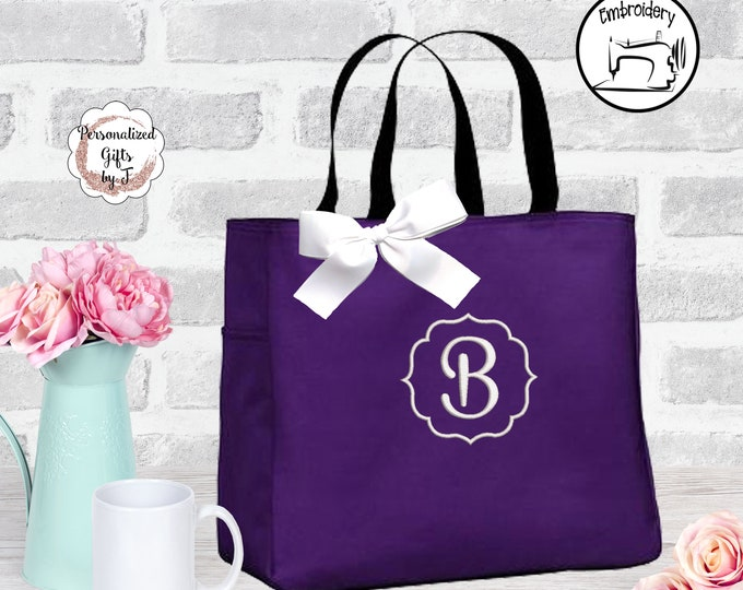 Bridesmaid Gift Personalized Tote Bags Initial Tote Monogrammed  Bridesmaids Tote Personalized Tote Wedding Totes Wedding Bag (ESS15)