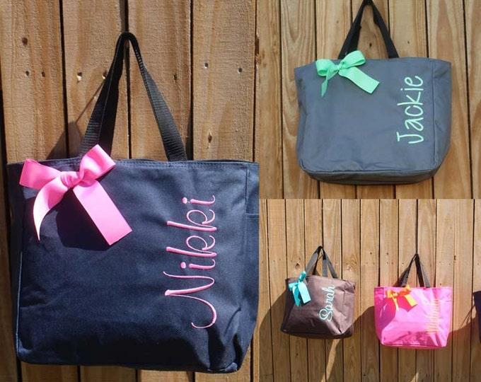 12 Monogrammed Totes, Bridesmaid Gift Tote Bags Personalized Tote, Bridesmaids Gift, Monogrammed Tote, Wedding Totes, Bridesmaid Bags