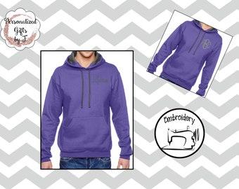 Purple Monogrammed Sweatshirt, Monogram Hoody, Personalized Hoodie, Monogrammed gift for Her, Gift for Wife, Girlfriend Gift, Sister Gift