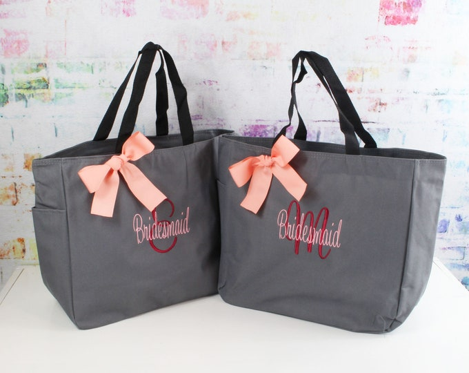 6 Personalized  Bridesmaid Tote Bags, Bridesmaid Gift, Monogrammed Tote, Bridesmaids Tote, Personalized Tote, Wedding Day Tote Bag (ESS1)