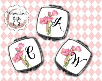 Monogrammed Mirror, Personalized Pocket Mirror, Compact Mirror Wedding Gift, Mother of Bride, Mother of Groom, Purse Mirror Design 1113