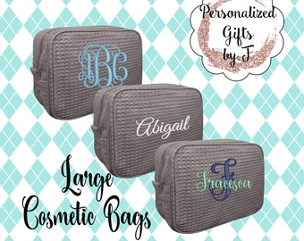 Gray Bridesmaid Makeup Bag, Bridesmaid Waffle Cosmetic Bags, Bridal Party Gift, Bridesmaids Bag, Personalized Bridesmaid Gifts, Monogrammed