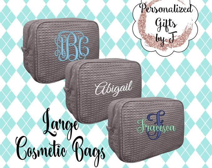 Gray Bridesmaid Makeup Bag, Bridesmaid Waffle Cosmetic Bags, Bridal Party Gift, Bridesmaids Bag, Personalized Bridesmaid Gifts, Monogrammed