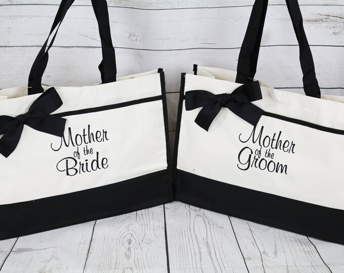 Set of 8, Wedding Party Gift, Embroidered Tote Bags, Contemporary Tote Bag