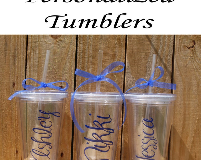 Personalized Bridesmaid Tumblers Glass Set of 12 Personalized Tumbler, Bridesmaid Gift, Bachelorette Party, Bridesmaid Glass