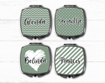 Bridesmaid Gift Compact Mirror, Makeup Mirror, Personalized Gift, Monogrammed Mirror