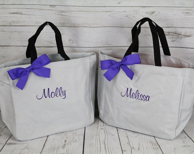 7 Personalized Wedding Tote, Bridesmaid Gift Tote Bags, Embroidered Tote, Monogrammed Tote, Bridal Party Gift, Monogram Tote Bag, Name Tote