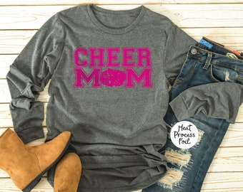 Cheer Mom Long Sleeve T Shirts Personalized, Sorority, Cheer Team, Bridesmaid Gift, T shirt, Long Sleeve Tee