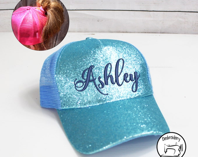 Personalized Light Blue Glitter Messy Bun Hat, Monogrammed, Embroidered ,High Ponytail, Trucker Hat, High Pony Cap, Women Ball Cap