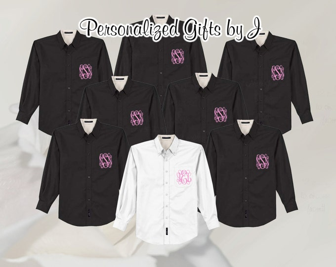 5 Monogrammed Oversized Bridal Party Shirt, Set of 5 Personalized Oversized Shirt, Bridesmaids Gift, Bachelorette Party