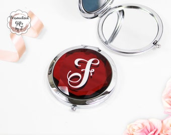 Red Jeweled Compact Mirror