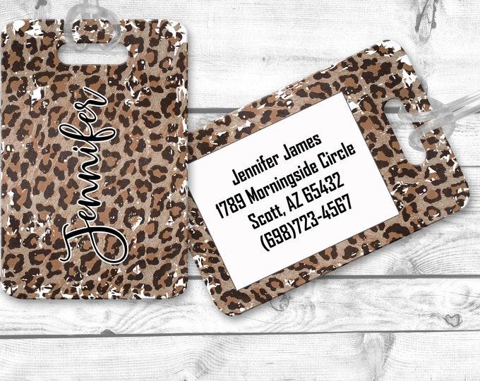 luggage tags, personalized luggage tag, Leopard Print bag tag, carry on bag tag, custom tag, destination bridesmaid gift