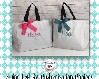 Set of 4 Monogrammed Tote Bag, Personalized Tote Bag (ESS1)