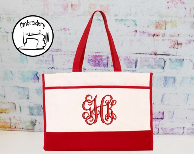 SALE*** Personalized Red Canvas Tote Bag, (CONT1)