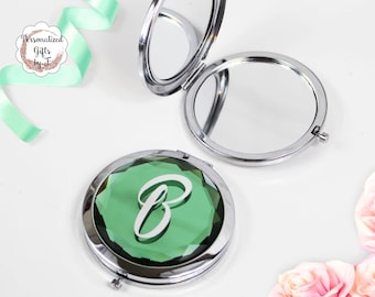 Green Jeweled Compact Mirror Silver Finish