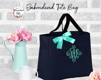 Personalized Tote Bag Bridesmaid Gifts Elegant scroll monogram Monogrammed Tote, Bridesmaid Tote, Personalized Tote (ESS1)