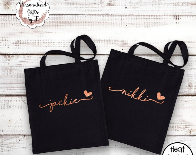Rose Gold Tote Bag Cotton Canvas Bridesmaid Gift Idea Monogrammed Gold Bag Metallic Silver Bridesmaids Tote Sister Gift for her Lightweight
