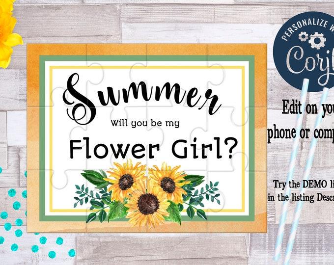 Flower Girl Proposal Flower Girl Gift Burgundy Floral Cute Gift Keepsake Memento Personalized Flower Girl Gift design Sunflower1