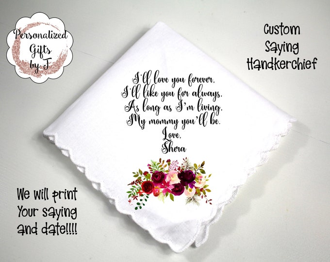Custom Handkerchief Mother of the Bride Gift Stepmother gift mother of the groom gift design bordo1
