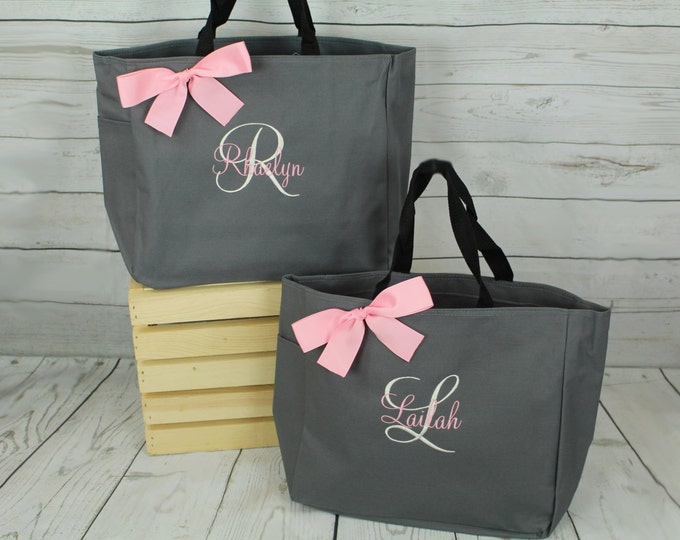 Set of 2 Personalized Totes, Bridesmaid Gift Bags, Monogram Tote Bag, Sports Bag, Monogrammed Tote, Cheerleader Gift Bag (ESS1)