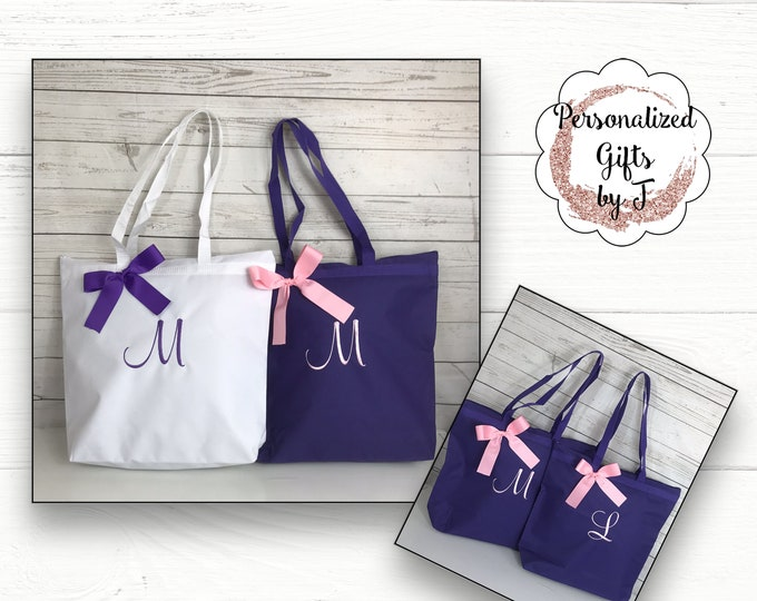 6 Personalized Zippered Tote Bag Bridesmaid Gift Monogrammed Tote, Bridesmaids Tote, Personalized Tote