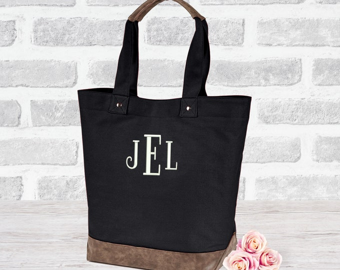 Custom leather canvas tote bag, Embroidered, purse shoulder messenger, design your own bag, personalized