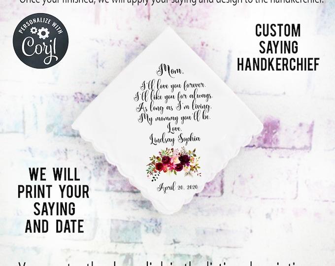 Custom Handkerchief Mother of the Bride Gift Stepmother gift mother of the groom gift design bordo1