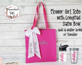 Flower Girl Tote with long tail satin bow Jr Bridesmaid Gift Wedding Tote and Tumbler Set Personalized add a water bottle or tumbler (D303)