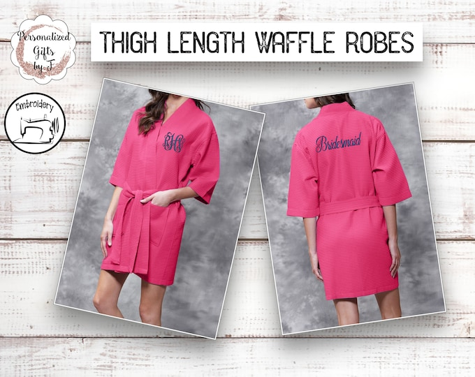 Personalized Bridesmaid Robe, Hot Pink Monogrammed Robe, Waffle Robes, Personalized Bridesmaids Gifts